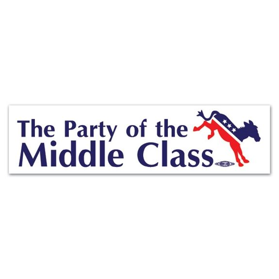 The party of the middle class bumper sticker