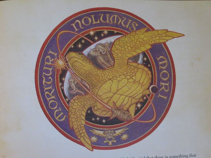 Mission Logo morituri nolumus mori, we who are about to die don't want to, From Terry Pratchett's The Last Hero.