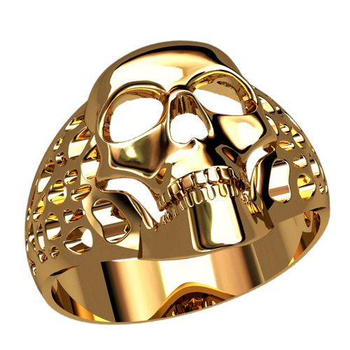 Skull Mens Signet Ring Gold Signet Ring Men Unique by WorldOfGold