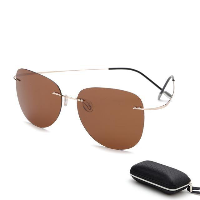 767de7ce6cc With case Polarized Titanium sunglasses Polaroid Brand Designer Rimless  Gafas Men Sun glasses sunglasses for men