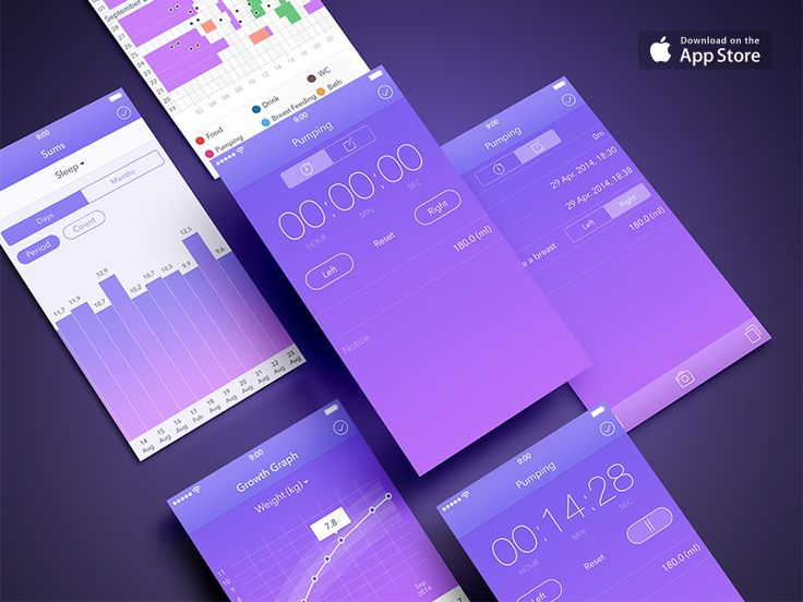 Kiddy Log iPhone app interface