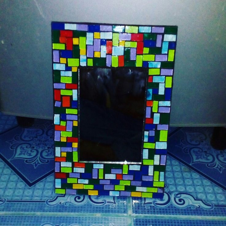 mirror mosaic with puzzle colouring