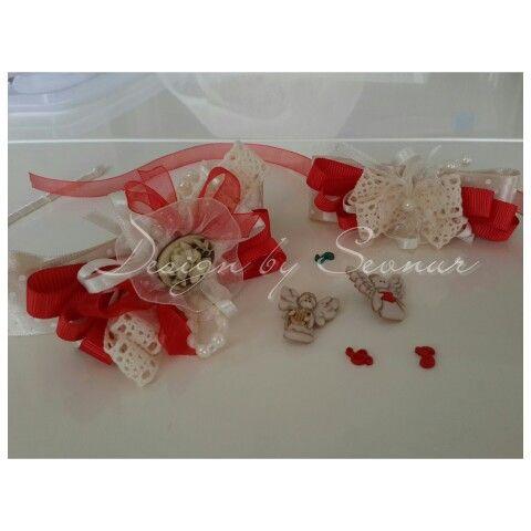 Kırmızı konsept lohusa tacı ve bilekliği.. Instagram-facebook:designbysevnur