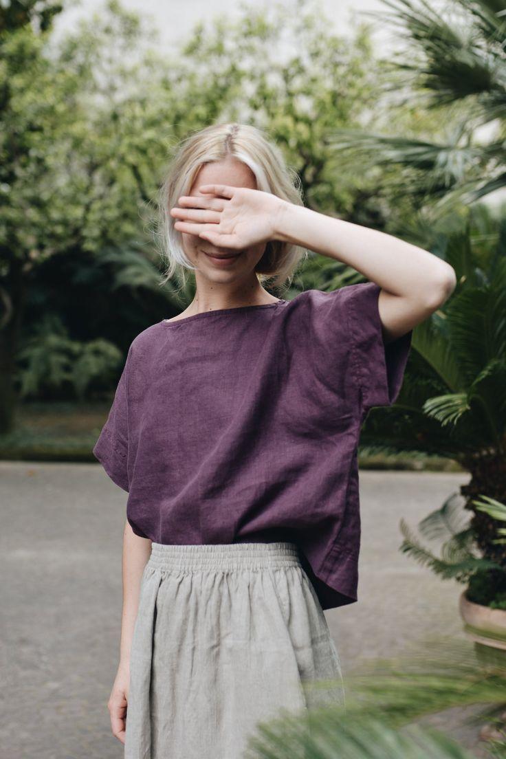 Mona top/ Linen top/ Oversized linen top/Basic kimono top/ | Etsy – Rachel Kim