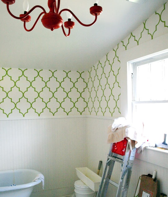 An airy stencil to keep the bathroom feeling open.
