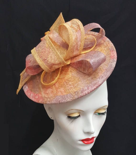 Golden yellow lilac rose pink two tone printed by SHMillinery