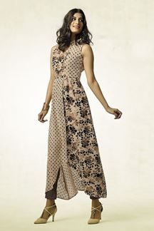 Show details for Beige kurti with polka dots & floral print