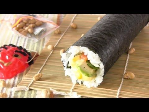 Lucky Eho Maki (Salmon Avocado Alasca Futomaki Sushi Roll) Recipe 福を呼ぶ恵方巻き レシピ FOR SETSUBUN! feb. 3rd ^_^