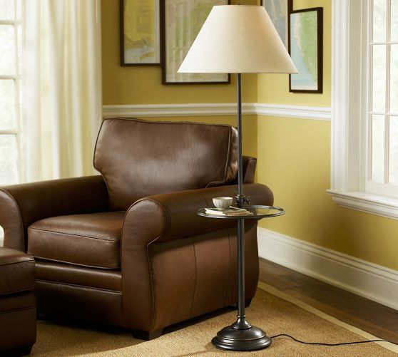 Pottery Barn Bronze Lamp: Chelsea Floor Lamp Base With Tray, Antique Bronze Finish