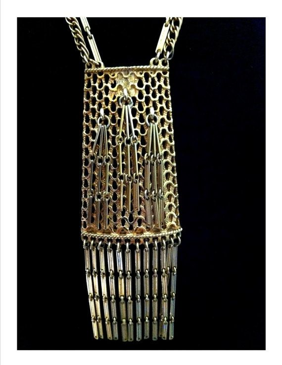 LUCIEN PICCARD SIGNED Necklace Egyptian Revival Gold Tone Basket Weave Medallion with Cascading Chandelier Ornaments Unique Double Chain