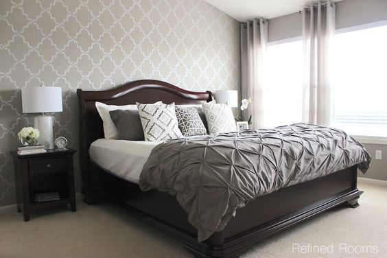 monochromatic gray master bedroom makeover reveal via Refined Rooms - Moorish Trellis Wall Stencils by Royal Design Studio