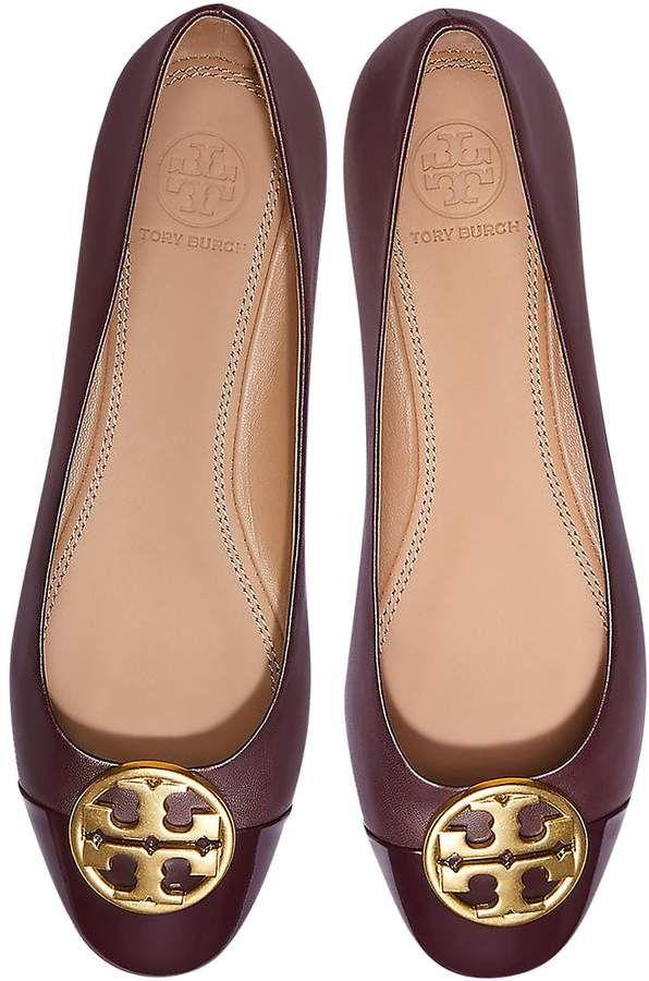 26b57604b Tory Burch Burgundy Nappa   Patent Leather Chelsea Cap-toe Ballet Flats