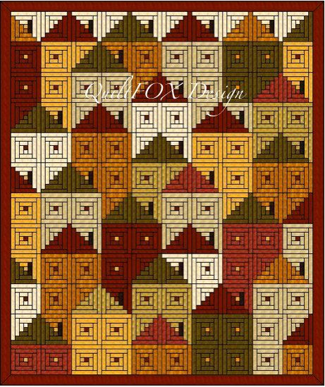 Log Cabin Houses Quilt Pattern – Twin size: 75″ x …