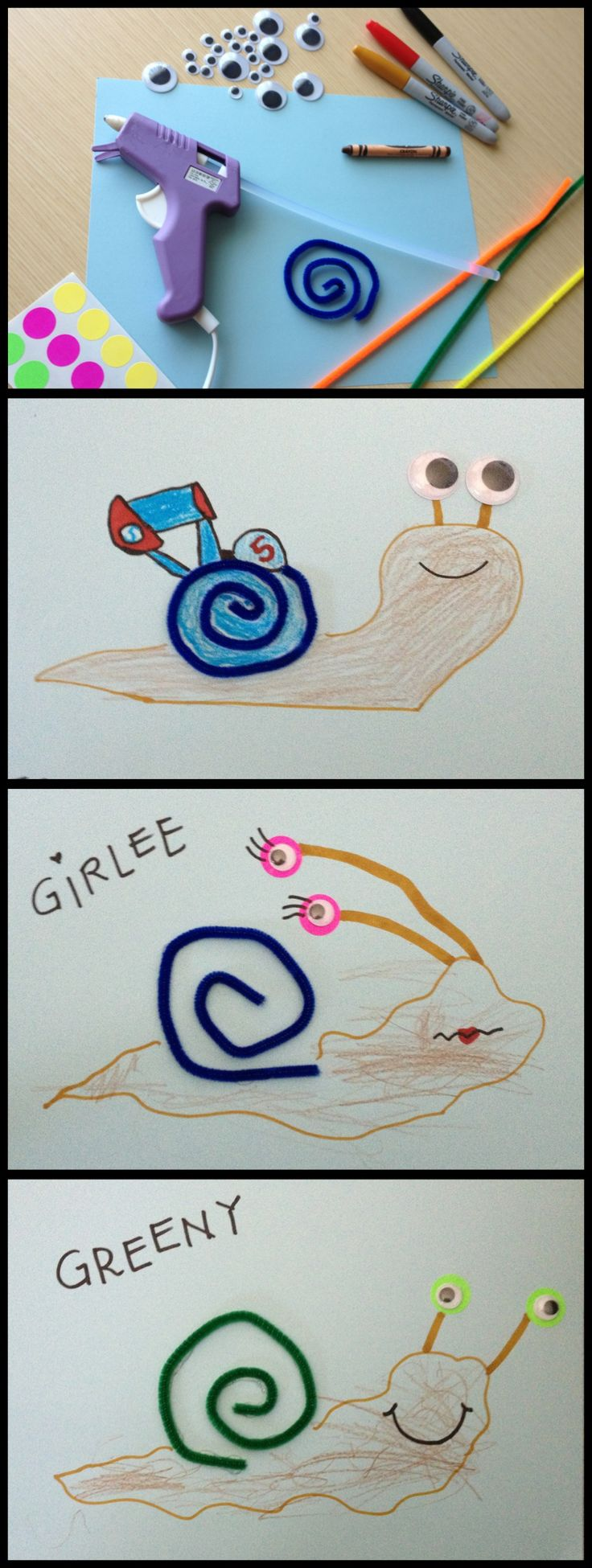 TURBO- snail craft  be creative, let the kids have artistic freedom, don't forget to name your snail friend!