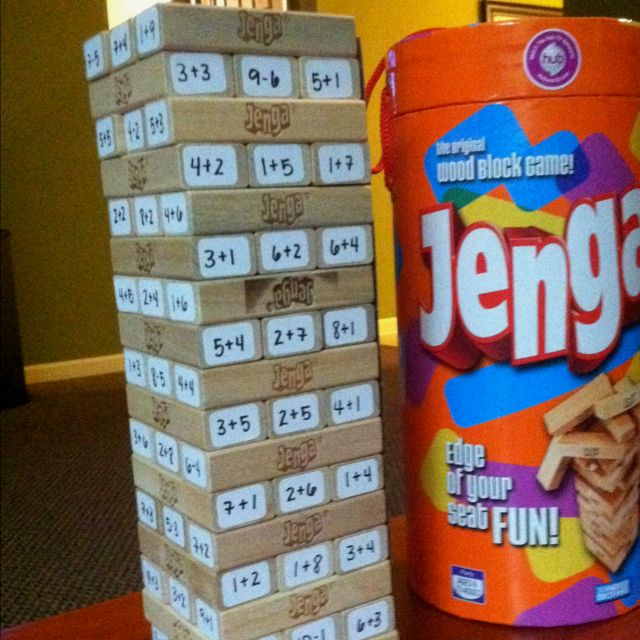 My new creation - Who needs flash cards when you can play math Jenga?! You have to solve a math problem before you can move each block. I used labels for the math problems so that I can change them out and keep them current with what they are learning. Hope this helps! Anything to make math more fun!
