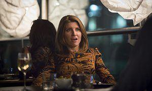 Sharon Horgan in Catastrophe: Season 1, epsiode 2: brown and black leafy dress