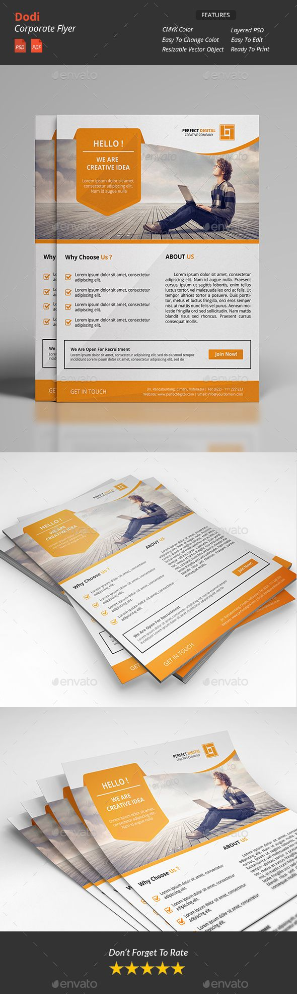 Dodi - Clean Corporate Flyers Template PSD #design Download: http://graphicriver.net/item/dodi-clean-corporate-flyers-v2/14480559?ref=ksioks