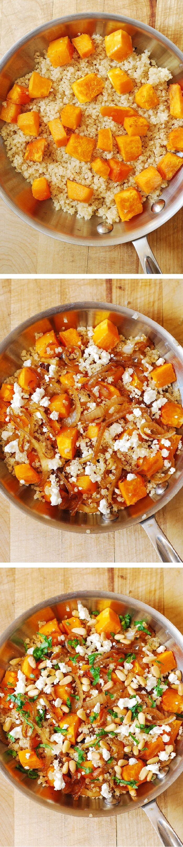 Healthy Quinoa Salad with Roasted Butternut Squash, Pine Nuts, Caramelized Onions and Feta cheese, with French Vinaigrette salad dressing. Healthy, full of anti-oxidants, protein, and it's gluten free!