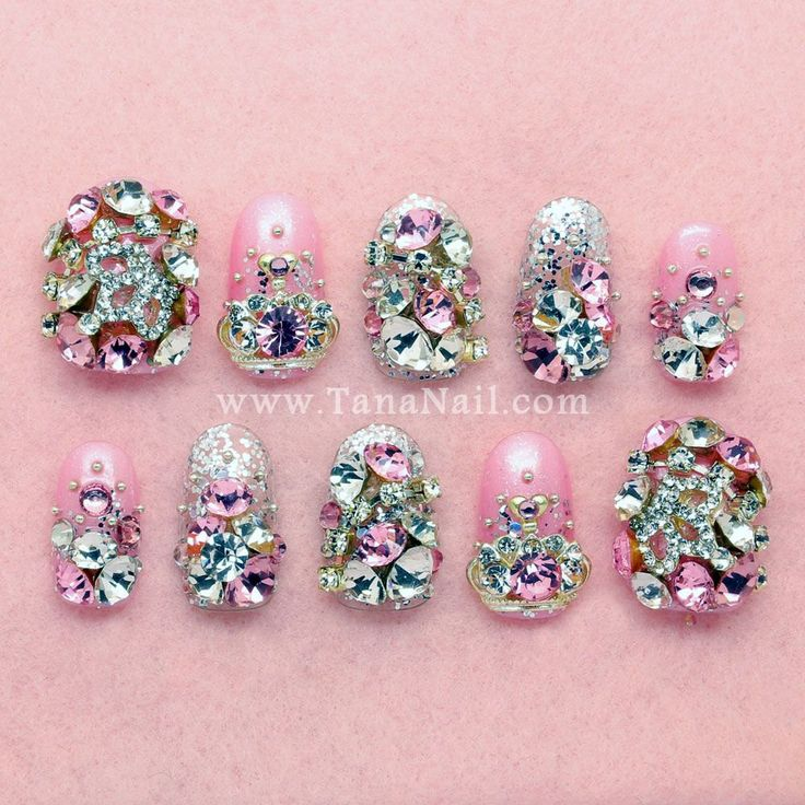 Japanese 3D Nail Art very beautiful Pink Nails by tanacollection, $35.00