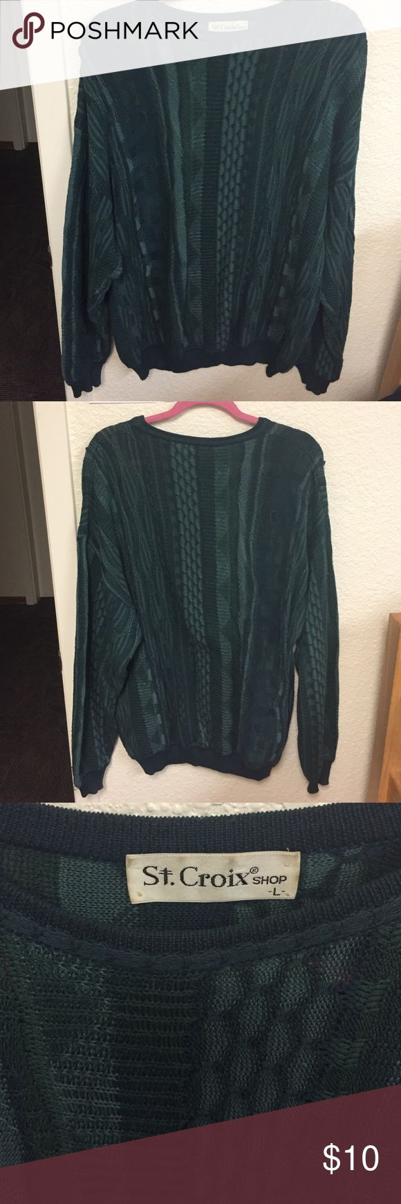 """Forest Green Grandpa Sweater Big & cozy vintage grandpa sweater with intricate patterns. Very cute """"90's"""" sort of feel Sweaters Crew & Scoop Necks"""