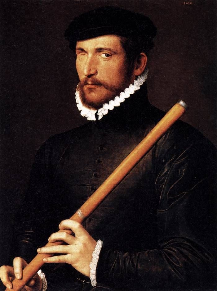 "history-of-fashion: "" 1566 unknown French painter - Portrait of a Flautist with One Eye """