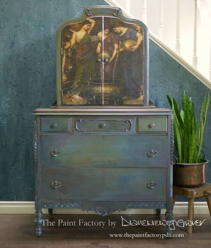 Diane Grover of The Paint Factory loves using Modern Masters Metal Effects to give her custom pieces a patina touch! This is a lovely dresser finished with the help of our Bronze Reactive Paint and Blue Patina.