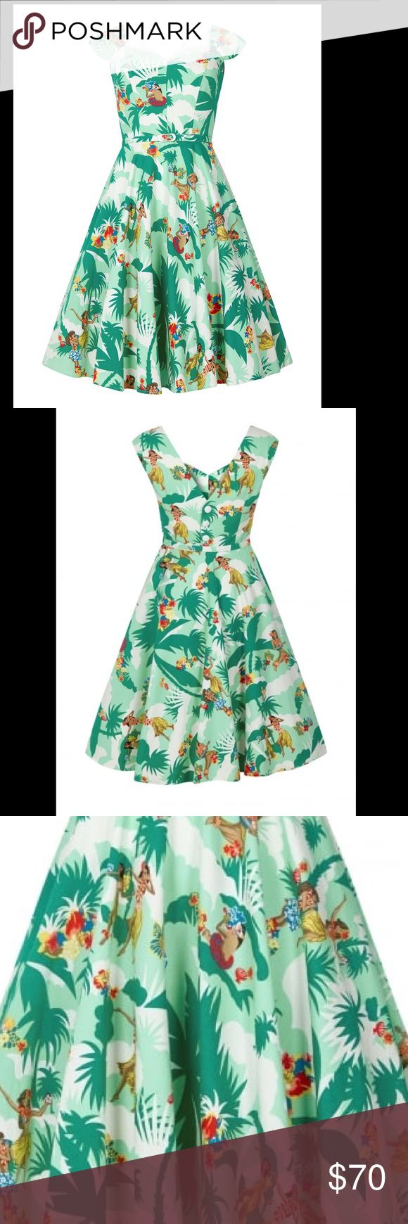 Hawaiian Pinup Vintage Style Swing Dress The Hawaiian Print Dress is sure to put you in the vacation mood, whether you're jetting off or not! , It is made in a crisp cotton blend, with a sweetheart neckline, button up back, matching belt and… POCKETS!  UK 18 fits US 14 see size chart for measurements   Fit is true to size. Dresses