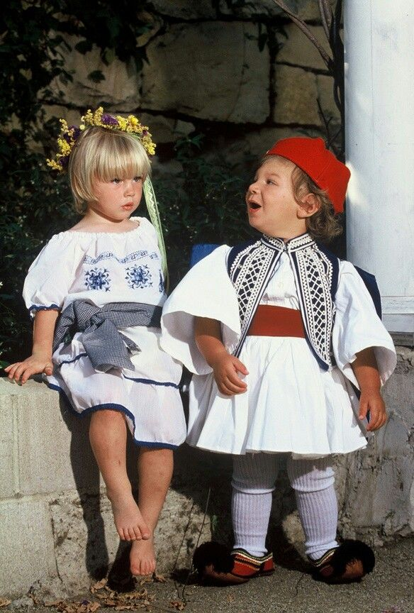 Grecian children in traditional garb. (Greece, Southern Europe)
