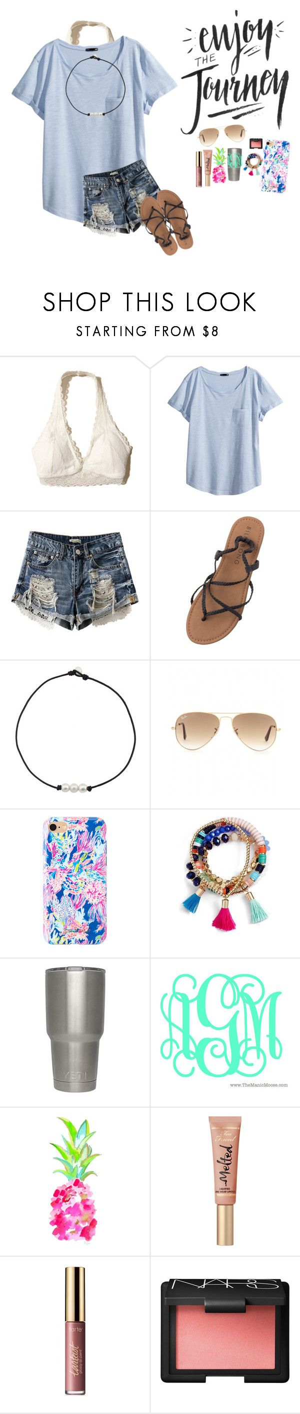 Enjoy The Journey!!! by mckenna1 ❤ liked on Polyvore featuring Hollister Co., HM, Billabong, Ray-Ban, Lilly Pulitzer, BaubleBar, WALL, tarte and NARS Cosmetics