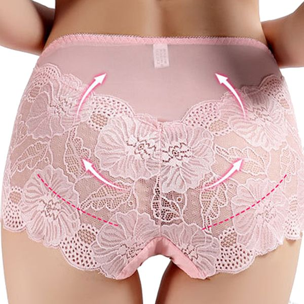 Women Sexy Flower Lace Embroidery High Rise Transparent Underwear Panties