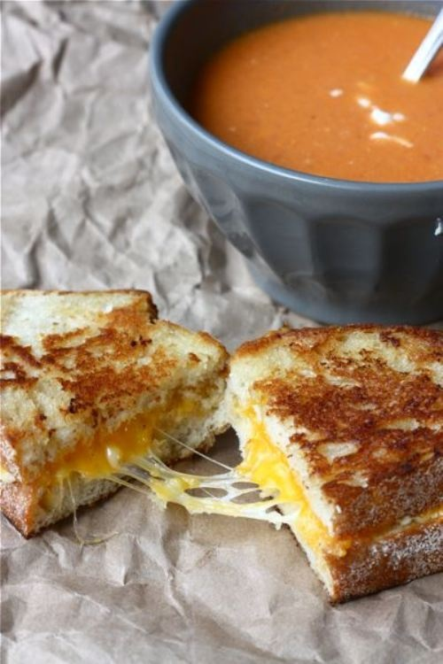 Tomato Goat's Cheese soup with toasted cheese sandwich