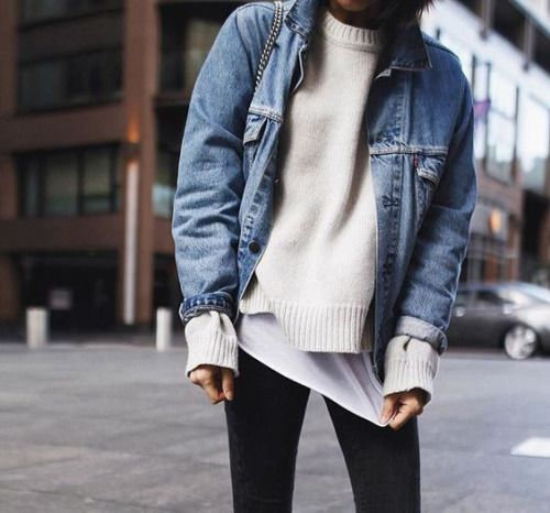 "streetstyleplatform: "" Denim Jacket White Jumper """
