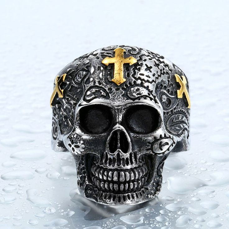 Stainless Steel Gold Plated Cross Skull Ring //Price: $9.99 & FREE Shipping //     #skull #skullinspiration #skullobsession #skulls