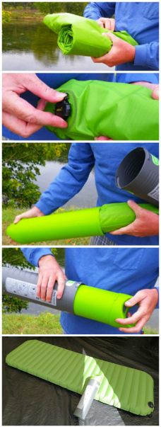 The AeroBed PakMat is lightweight, comfortable, and a perfect choice for tent camping. Measuring an extra-long 78-inch long by 26-inch wide by 5-inch high when inflated. The included hand pump lets you inflate your bed with no power source necessary.