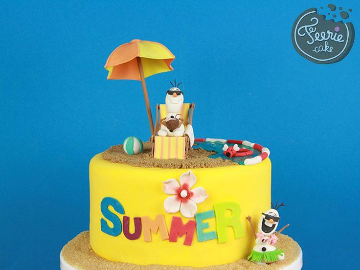 Gâteau Olaf en été pâte à sucre
