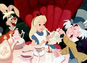 Alice at the mad hatter's tea party from Walt Disney's 1951 film Alice in Wonderland.