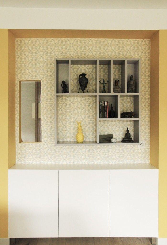 rangement et niches ouvertes en laque sur mesure sur papier peint graphique conception agence. Black Bedroom Furniture Sets. Home Design Ideas