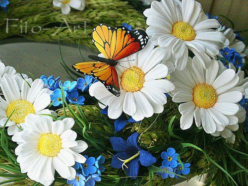 Купить Оранжевая бабочка Монарх из полимерной глины - бабочка, лето, крыло, ромашка, оранжевый, пластика