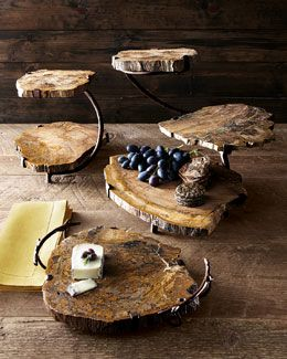 -3HHN Janice Minor Petrified Wood Serving Pieces: Decor Ideas, Minor Petrified, Serving Pieces, Threetier Server, Janic Minor, Petrified Wood, Wood Serving, Serving Trays, Rustic Wedding