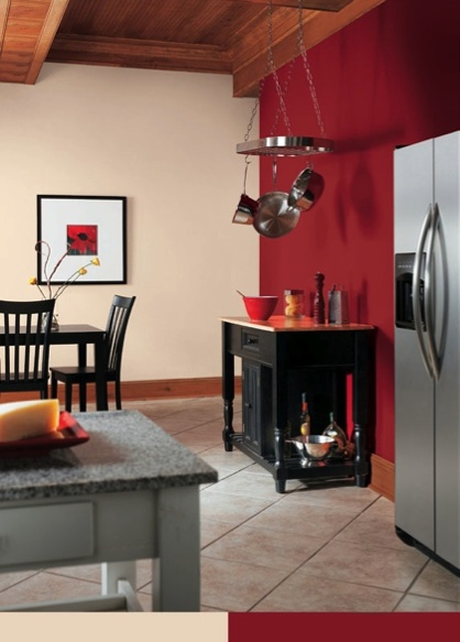 Create drama in a kitchen by using Bolero (SW 7600) as an accent wall.