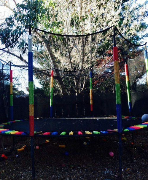 70 Summery Backyard DIY Projects That Are Borderline Genius - rainbow trampoline!