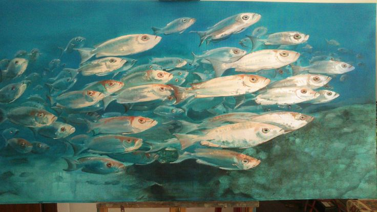Monica Peralta. Il viaggio della speranza . Olio e foglia d'argento su tela 120x80cm