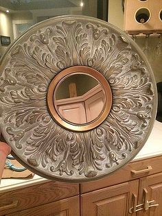 wall art mirror ceiling medallion repurpose, repurposing upcycling, wall decor, With mirror in place
