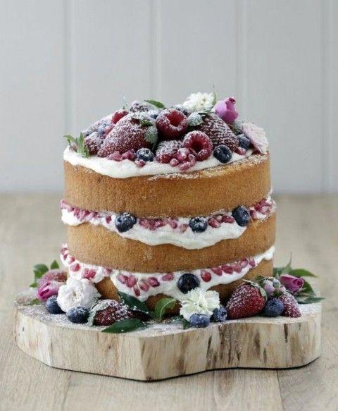 55 Delicious Naked Wedding Cakes   HappyWedd.com