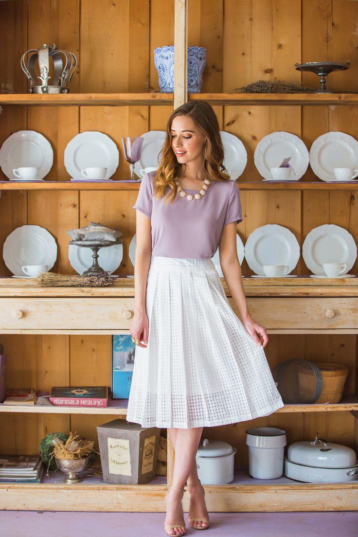 Claire White Gingham Midi Skirt – Morning Lavender