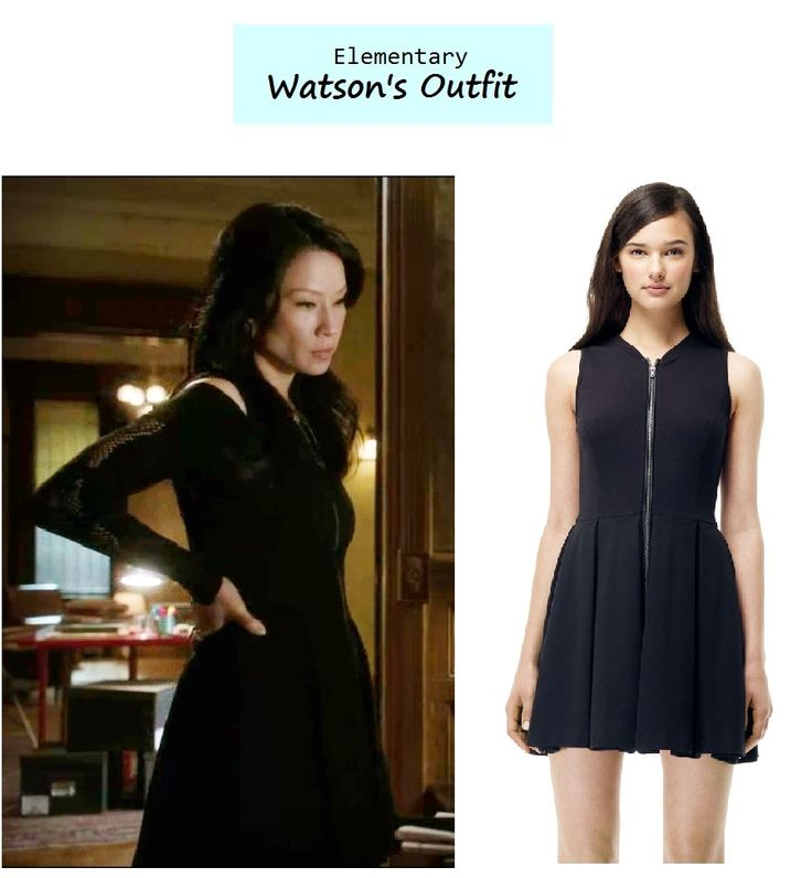 """Lucy Liu as Joan Watson inElementary-""""Dead Man's Switch"""" (Ep. 120). Watson's zip front dress was layered with an off the shoulder top. Watson's Outfit: Club Monaco """"Sofie"""" Dress $169.50here 