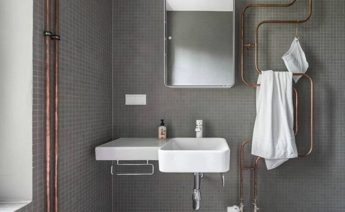 Inspiring Bathroom Designs For The Soul: Exposed Copper Plumbing