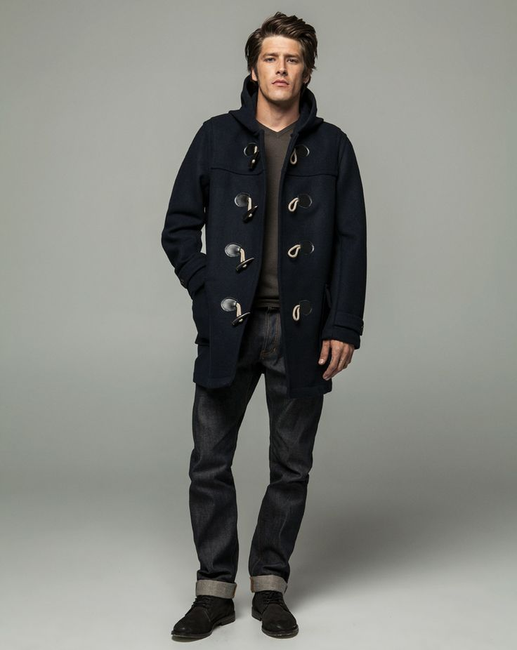 Workshop Denim Wool Cashmere V Neck - Coffee, Duffle Coat - Navy, Mens Selvedge - Dark Indigo