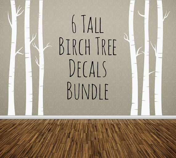 Birch Tree Decal, Nursery Wall Decal, Vinyl Wall Sticker, Kids Room Decor, White Large Decal, Gray, Brown