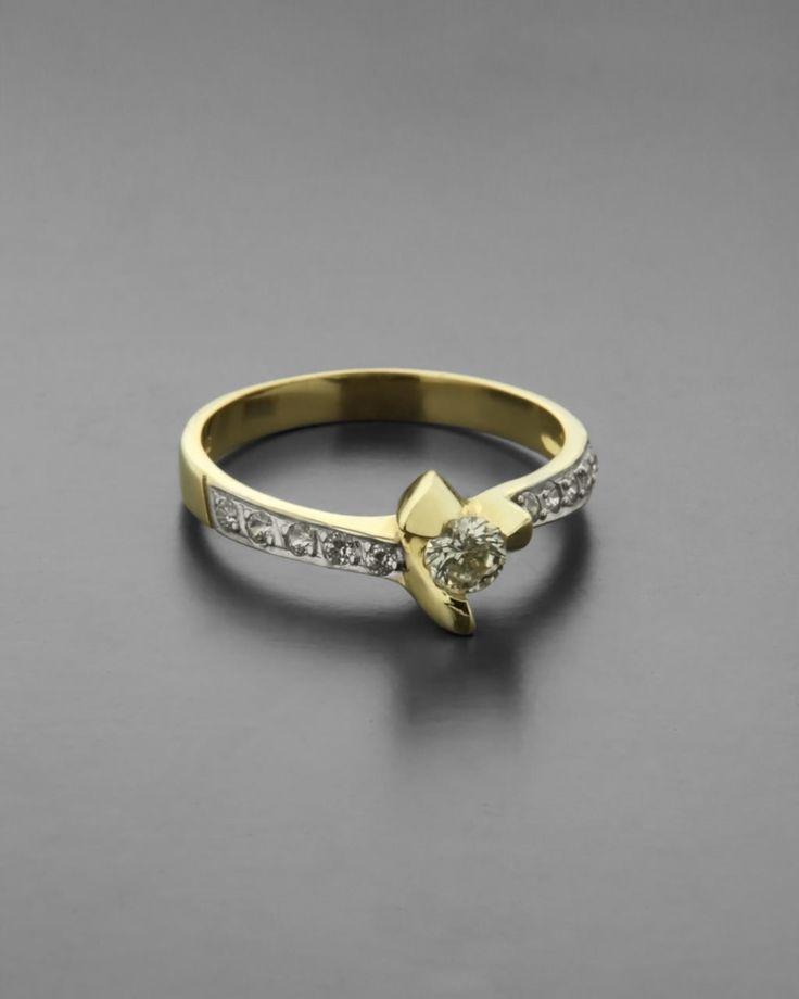 Μονόπετρο δαχτυλίδι χρυσό & λευκόχρυσο Κ14 με Ζιργκόν